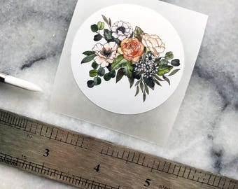 STICKER of FLOWER BOUQUET 2 Inches  // Art Watercolor Garden Leaves Indoor Plant Paynes Gray Flora
