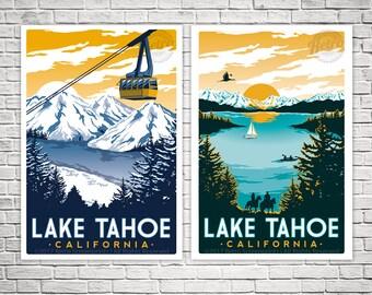 2-Pack Lake Tahoe Travel posters Summer/Winter