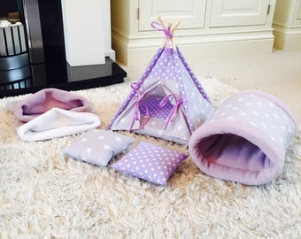 Complete Cage Set For Small Pets, Guinea Pig Cage Set, Pygmy Hedgehog Vivarium Set, Hamster, Sugar Glider, Guinea Pig, Small Pet Teepee Set.