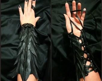 Lady Crow Leather Bracelets Black Gothic Dark Art Decor