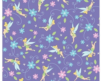 """Lavender Tinkerbell ~ Disney Tinker Bell Fairy one yard of fabric 100% cotton by the yard 44"""" - 45"""" wide"""
