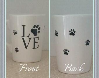 Handmade coffee mug animal lover with Love and paw prints