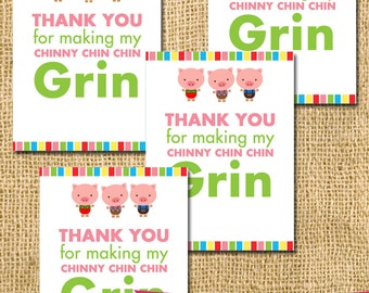 Printable Three Little Pigs Inspired favor tags - oink farm wolf house party paper goods chinny chin DIY boy girl card printable birthday
