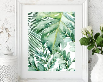 Banana leaf wall art, Banana leaf decor, Palm leaf art print, Palm leaf prints, Palm leaf wall decor, Tropical leaf prints, Monstera leafs