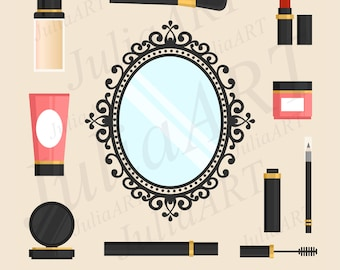 vintage mirror with accessories makeup