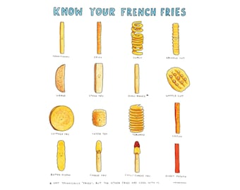 french fries, teen room art gift, foodie art gift, funny chart, dorm room decor idea, gift ideas for chef, office kitchen print, food chart