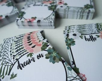 2 x paper pad SET / memo pad / Notepad flower