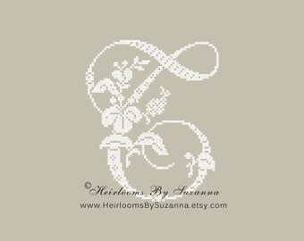 "Large Antique Floral Monogram - Machine Cross Stitch Embroidery - Tropical Flower Initial - Cross Stitch Font - Floral Font ""T"" - HBS-61-T"