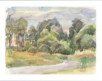 Evening landscape watercolour painting - PRINT plein air watercolor drawing Sunset at countryside landscape by Catalina.