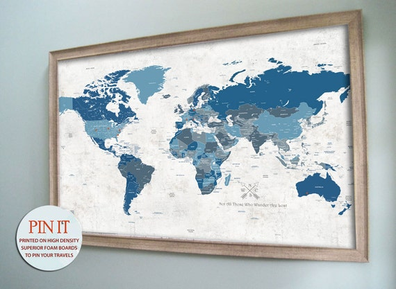 Framed world map push pin map world map pin board artistic gumiabroncs Image collections