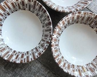 Set of 3 - Mid Century Bowls / Crown Lynn Ironstone Bowls / Vaiselle En Gres Espresso Bowls / Brown Pattern Bowls