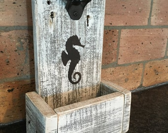 Rustic Bottle Opener with Cap Catcher-Coastal Decor-Conversation Piece-Custom Made-Seahorse-One of a Kind-Man Cave