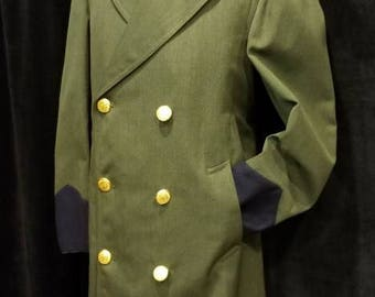 Vintage ~ Double Breasted ~ Men's ~ Boarder  ~ Patrol ~ Overcoat ~ Great Quality  ~ Incredible Condition ~ L@@k!!!