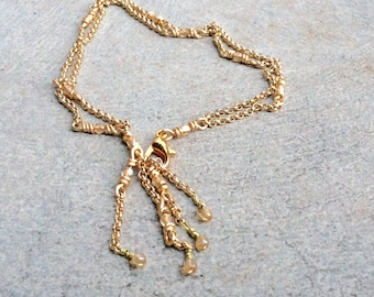Gold chain anklet / wire wrapped chain bracelet or anklet / Swarovski