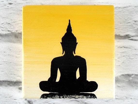 Yellow Buddha painting on wooden plaque Buddhist wall decor
