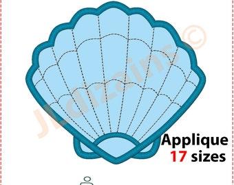 Sea Shell Applique Design. Sea Shell embroidery design. Seashell embroidery design. Seashell applique design. Machine embroidery design.