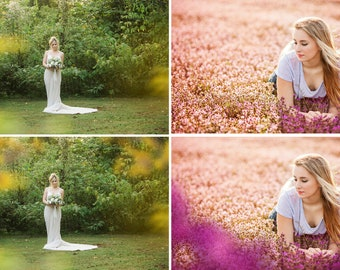 Floral Bokeh Photo Overlays, Flower Photoshop Layer