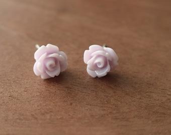 Floral Stud Earrings Lavender Stainless Steel Posts Hypoallergenic
