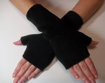 Luxurious Premium Luxe Fleece Fingerless Gloves, Black Fleece Fingerless Gloves