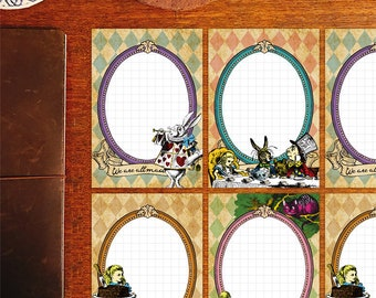 Alice in wonderland, ornament style message writing papers set, memo pad, stationery