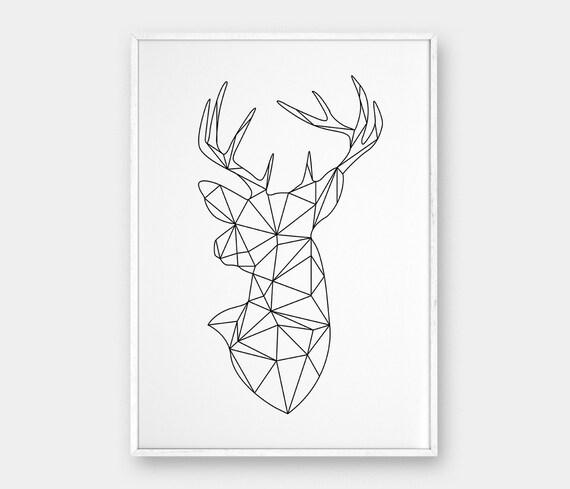 Geometric Purple Deer Wall Art Print Modern Poster Buck: Geometric Deer Head Deer Wall Art Origami Deer Art