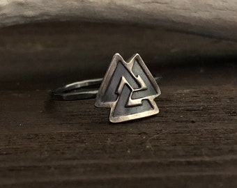 Valknut Ring - Odin Ring - Silver Norse Jewelry - Viking Jewelry - Gift for Women - Anniversary - Pagan Jewelry - Fine and Sterling Silver