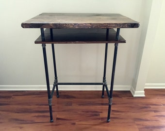 Standing Steel and Wood Desk w/ Shelf