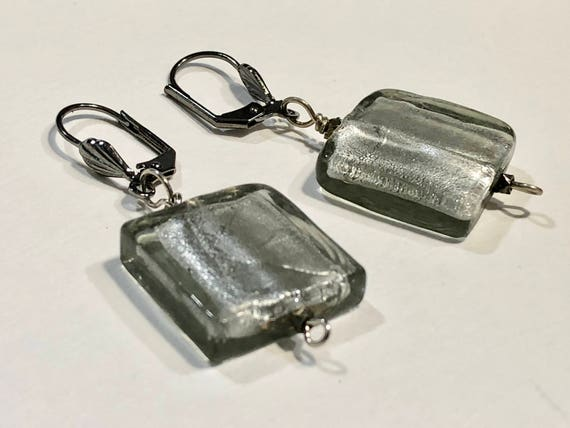 SJC10184 - Handmade shimmering translucent gray glass bead earrings with dark metal ear wires