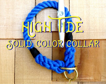 HIGH TIDE Cotton Rope Training Collar, Pre-dyed solid color cotton, Harbor Hound Collar, Cotton Dog Collar, Slip-On Collar