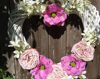 Bright Summer White heart wreath with pink flowers