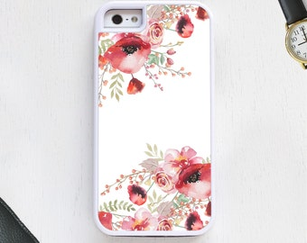 Boho dark pink floral rose vintage pattern on white Cell Phone Case protective bumper cover iPhone6 iPhone7 Android s5 s6 s7 note4 note90
