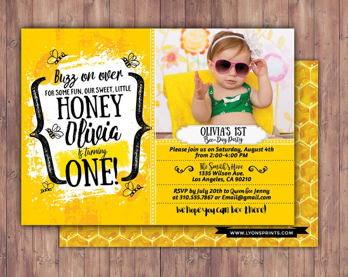Hunny Bee - Birthday - Honey Bee - Bees - Honey Birthday Party - Birthday - Bumble Bee - Invitation - Hip Hop- Digital/Printable File