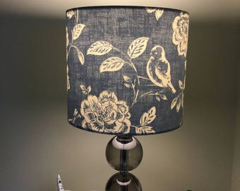 Handmade 20cm Drum Lampshade a Bird Garden Blue Iliv Country Cottage Farm Flowers  (Free UK Post)