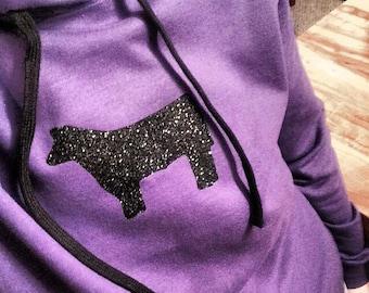 Stock Show Hoodie- Bling steer, pig ,lamb, goat, llamas, dairy cow, horse
