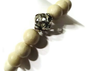 Sandstone and Silver Bead Bracelet