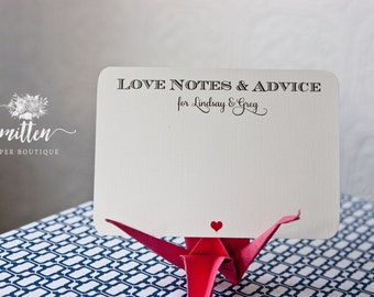 50 Custom Wish Cards | Love Notes and Advice Cards | Wedding | Engagement |  Bridal Shower Advice | L02