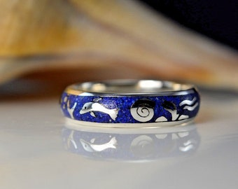 Sterling silver Ocean ring w/ Dolphins & turtles with Lapis Lazuli