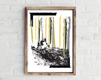 The Race Is On...  Giclee Fine Art Cycling Print.  Print for Cyclists