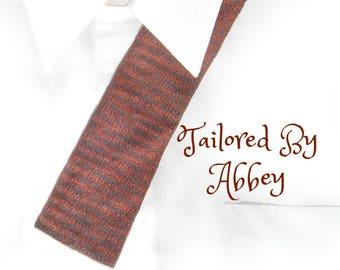 Square tie - square bottom tie - mad men retro tie - 60's square tie -designer square tie -flat end tie -thin tie - gift for Dad tie - #T 54