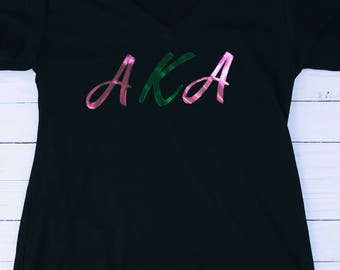Pink and Green Metallic AKA T-shirt