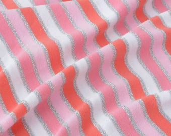 Fluid jersey fabric stripes Silver Pink x50cm