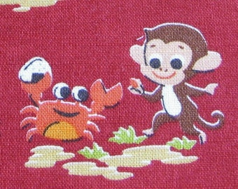 Monkey and Crab Japanese OOP Fabric on Red - Half Yard