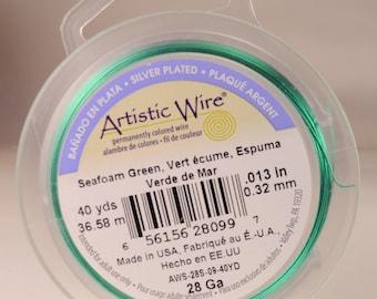 Artistic wire 28 gauge: copper core, seafoam color