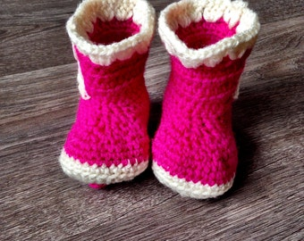 Crochet Baby Boots, 0-3 months, Crochet Boots, Baby Boots, Pink Baby Boots