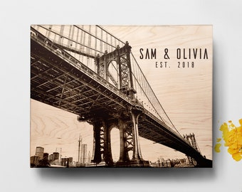 Personalized Cutting Board Manhattan Bridge, Engraved Wedding Gift, NY Skyline ,Custom Cutting Board, Wedding Gift, Chopping board
