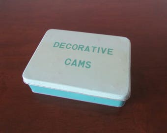 Tin Storage Box, Decorative Cams Storage Tin, Sewing Cams Storage Box, Metal Sewing Notions Tin