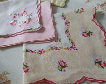 Hankies Set of Three Pink Green Roses Lace Embroidered Printed Handkerchiefs