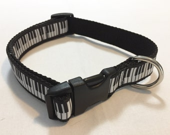 Music Piano Keyboard Ebony and Ivory Adjustable Dog Collar and or Matching Bow Tie