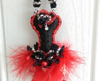 Ornament Leather Corset Red Black Key Pearl Bling Gift