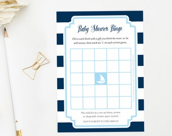 Nautical Baby Shower BINGO Game, Nautical SailBoat Games, Printable Instant Download for Baby Boy, Ahoy It's a Boy